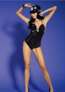 Bodysuit-kostuum voor dames met politie