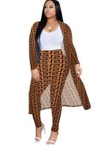 Pantalones de cintura alta con estampado de leopardo y abrigo largo