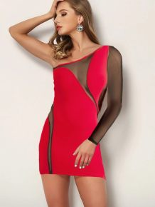 Sexy Patchwork One Shoulder Club Dress