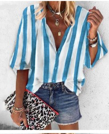 Street Style Wide Stripes Loose Shirt