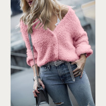 Top casual in peluche con scollo a V