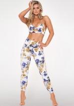 Enger Yoga-BH und Gamaschen mit Blumendruck