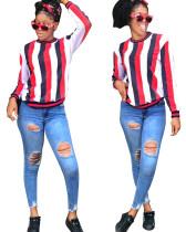Wide Stripes O Neck Shirt met lange mouwen