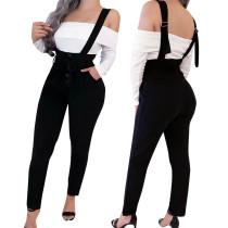Zwarte sexy strakke hoge taille Bib broek