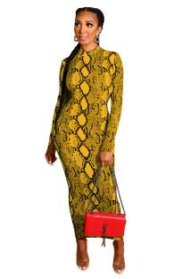 Vestido de Midi de manga comprida com estampa de pele de cobra sexy