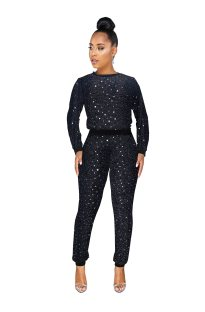 Sequins O Neck Long Sleeve Sweat Suit