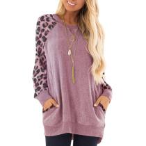 Camisa de manga larga con cuello o estampado de leopardo