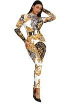 Bodycon jumpsuit met lange mouwen en print