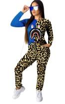 Conjunto de camisa y pantalón de manga larga con estampado de leopardo