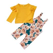 Çocuklar Kız Sarı Gömlek ve Çiçek Önlüğü Pantolon
