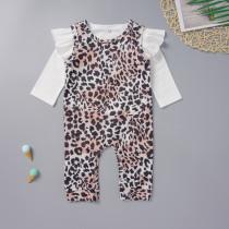 Combinaison chemise blanche et léopard pour bébé fille