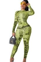 Afdrukken Nieuwsbrief Bodycon jumpsuit met lange mouwen