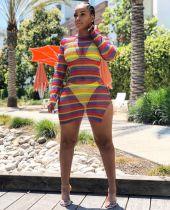 Colorful Stripes Mesh Slit Bodycon Dress