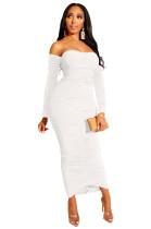 Vestido Midi Ruched Sheer sem alças com mangas