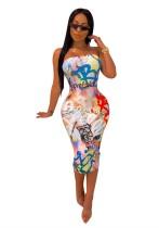 Imprimir vestido tubo sexy colorido