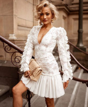White Deep-V Vintage Mermaid Dress