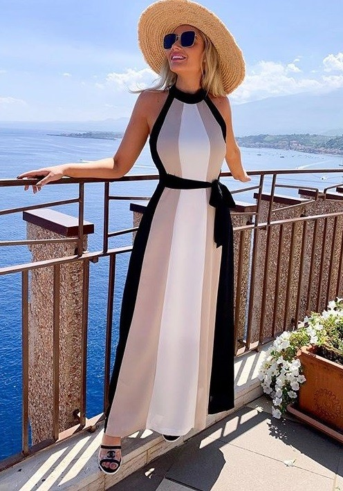 Contrast Halter Long Dinner Dress with Belt
