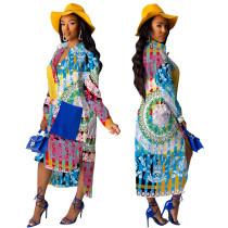 Vestido camisero de corte bajo y estampado colorido