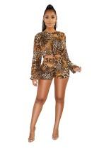 Top corto y pantalones cortos con estampado de leopardo