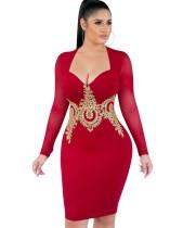 Bahar Kırmızı Aplike Uzun Kollu Seksi Kulüp Elbise