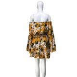 Комбинезон с открытыми плечами с цветочным принтом и широкими рукавами