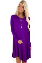 Sheer V Neck Long Sleeve Irregular Shirt Dress