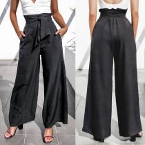 Calças de cintura alta casuais pretas com pernas largas e cinto