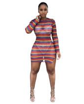 Kleurrijke strepen getailleerde bodycon jurk