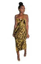 Vestido Midi sem alças com estampa de leopardo