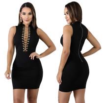 Mini vestido sin mangas con cordones negro