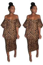 Vestido Midi sem alças com estampa de leopardo e mangas pop
