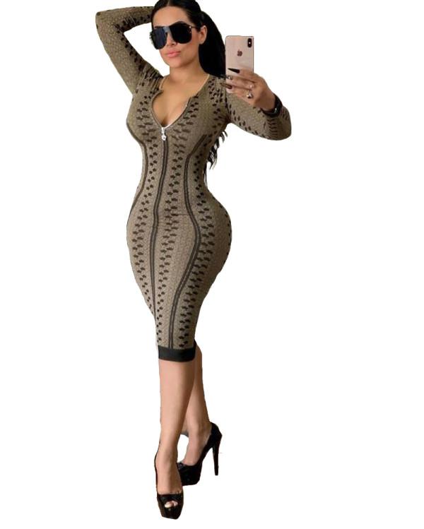 Vestido midi de manga larga con cremallera estampada