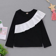 Kids Girl White and Black Ruffle Shirt