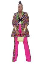 Conjunto de pantalón y chaqueta larga con estampado de leopardo