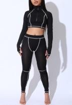 Sports Print Long Sleeve Yoga Crop Top and Leggings
