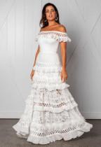 Weiße Spitze Schulterfrei Rüschen Brautkleid