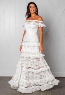 Beyaz Dantel Kapalı Omuz Ruffles Düğün Elbise