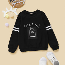 Kids Boy Print Schwarzes Sweat Shirt