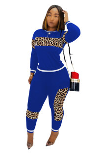 Leopard Print O-Neck Long Sleeve Sweatsuit