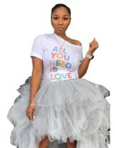 Print Wit O-hals strak overhemd