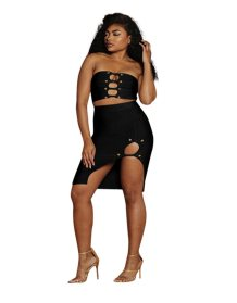 Black Cut Out Bandeau Top and Irregular Skirt