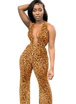 Tief ärmelloser Partyoverall mit Leopardenmuster