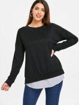 Zwart patchwork shirt met lange mouwen
