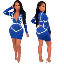 Neon Print Long Sleeve Zipper, figurbetontes Kleid