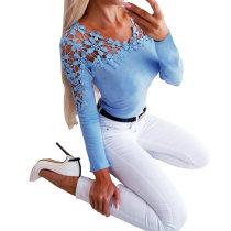Camicia floreale scollo a V scava sexy