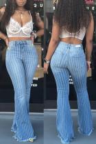 Bell Bottom Jeans mit weißen und blauen Streifen