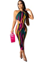 Cut Out Sexy Colorful Halter Midi Dress
