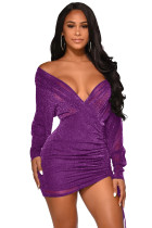 Sexy Bling Bling V-Neck Ruched Party Dress