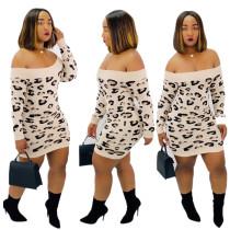 Leopard Print Off Shoulder Knitting Bodycon Dress