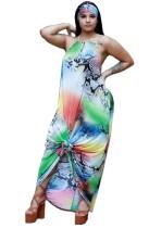 Drucken Sie bunte Halfter Maxi-Kleid